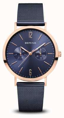 Bering | klasyczny | polerowane różowe złoto | niebieska bransoletka z siatki | 14236-367