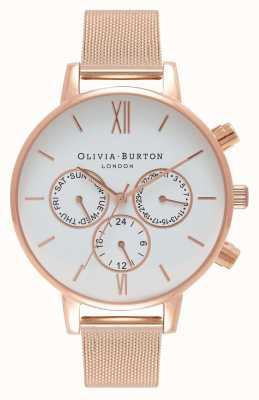 Olivia Burton Damskie | biała tarcza | Różowa siatka pvd OB16CG86