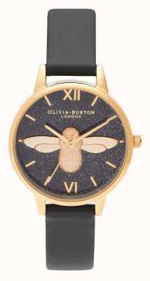 Olivia Burton | damskie | brokatowa tarcza | 3d pszczoła | czarny skórzany pasek | OB16GD48