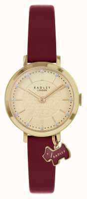 Radley Ulica Selby | bordowy skórzany pasek | złota tarcza | RY2862