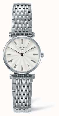 Longines Elegancki klasyczny srebrny pasek | biała twarz | L42094716