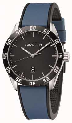 Calvin Klein | rywalizacja mężczyzn | niebieski gumowy pasek | czarna tarcza | K9R31CV1