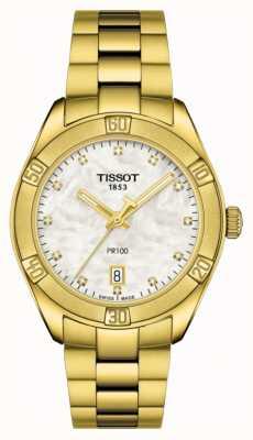 Tissot | pr 100 | pozłacana stal nierdzewna | tarcza z masy perłowej T1019103311601