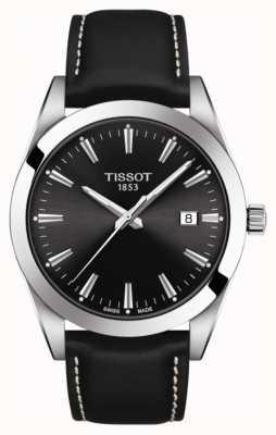 Tissot Dżentelmen | czarny skórzany pasek | czarna tarcza | T1274101605100