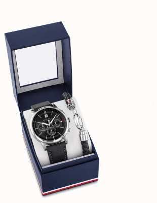 Tommy Hilfiger Męski czarny skórzany zegarek i zestaw upominkowy 2770058