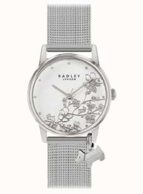 Radley Botaniczny kwiatowy | srebrna bransoletka z siatki | biała tarcza w kwiaty RY4401