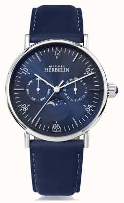 Michel Herbelin Montre inspirowany niebieskim skórzanym paskiem ze stali nierdzewnej w fazie księżyca 12747/AP15BL