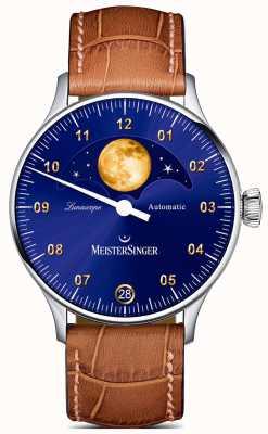 MeisterSinger Lunascope | niebieska tarcza | brązowy skórzany pasek LS908G