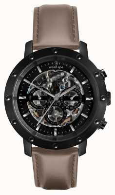 Weird Ape Icarus 3 dial | czarna tarcza | skórzany pasek z orzecha laskowego WA02-005703