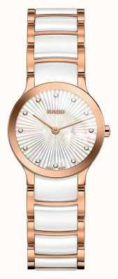 Rado Diamenty Centrix z białej ceramiki i różowego złota R30186912