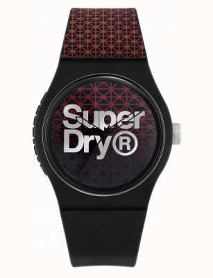 Superdry Geo sport miejski | czarny / czerwony silikonowy pasek | tarcza czarno-czerwona SYG268R