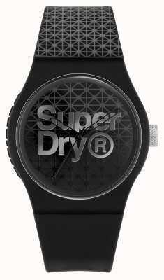 Superdry Geo sport miejski | czarny / szary silikonowy pasek | czarno-szara tarcza SYG268B