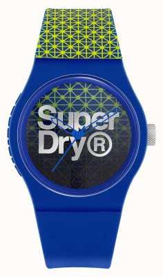 Superdry Geo sport miejski | niebiesko-zielony silikonowy pasek | niebiesko-zielona tarcza SYG268UN