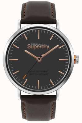 Superdry Oxford | brązowy skórzany pasek | brązowa tarcza | SYG287BR