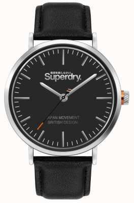 Superdry Oxford | czarny skórzany pasek | czarna tarcza | SYG287B