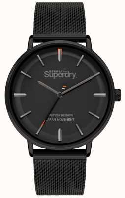 Superdry Ascot XL | czarna bransoletka z siatki | czarna tarcza | SYG284BM