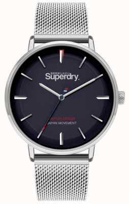 Superdry Ascot XL | srebrna bransoletka z siatki | niebieska tarcza | SYG284SM