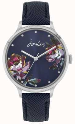 Joules Payton kobiet | niebieski skórzany pasek | niebieska tarcza w kwiaty | JSL021U
