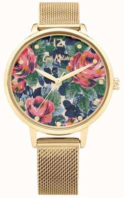 Cath Kidston Pembroke rose | złota bransoletka z siatki | tarcza kwiatowa | CKL085GM