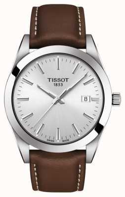 Tissot | dżentelmen | brązowy skórzany pasek | srebrna tarcza | T1274101603100