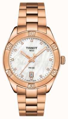 Tissot | pr 100 sportowy szyk | bransoletka z różowego złota | Matka perły T1019103311600