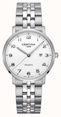 Certina | ds caimano | srebrna bransoleta ze stali nierdzewnej | biała tarcza C0354101101200