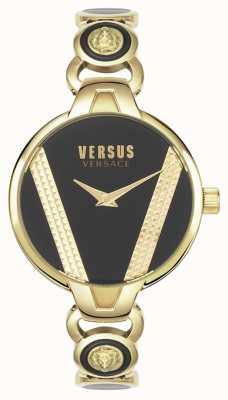 Versus Versace | święty germain | stal nierdzewna w odcieniu złota | czarna tarcza | VSPER0319