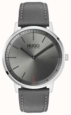 HUGO #exist | szary skórzany pasek | szara tarcza | 1520009