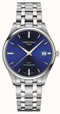 Certina Chronometr Ds-8 | bransoleta ze stali nierdzewnej | niebieska tarcza | C0334511104100