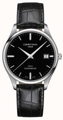 Certina Chronometr Ds-8 | czarny skórzany pasek | czarna tarcza | C0334511605100