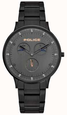 Police | berkeley dla mężczyzn | czarna stalowa bransoletka | szara tarcza | 15968JSB/39M
