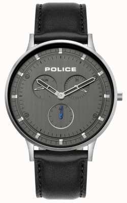 Police | berkeley dla mężczyzn | czarny skórzany pasek | szara tarcza | 15968JS/39