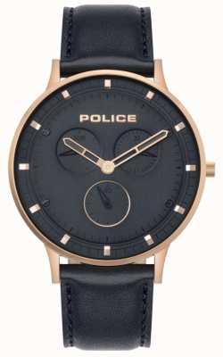 Police | berkeley dla mężczyzn | ciemnoniebieska skóra | niebieska tarcza 15968JSR/03