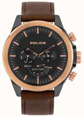 Police | męski belmont | brązowy skórzany pasek | czarna tarcza | 15970JSUR/02