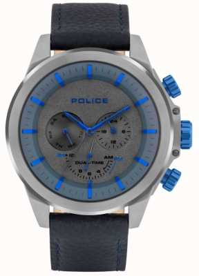Police | męski belmont | niebieski skórzany pasek | niebieska / szara tarcza | 15970JSU/61