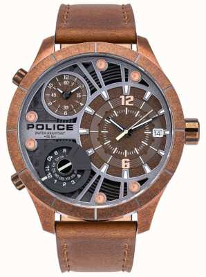 Police | bushmaster mężczyzn | brązowy skórzany pasek | brązowa tarcza | 15662XSQR/12