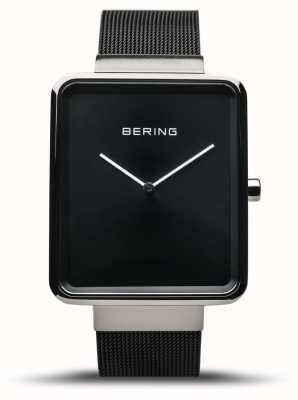 Bering | klasyka męska | czarna bransoletka z siatki | czarna tarcza | 14533-102