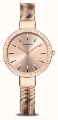 Bering | klasyczny damski | siatka z różowego złota | kryształowa ramka 16831-366