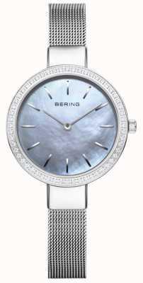 Bering | klasyczny damski | srebrna bransoletka z siatki | kryształowa ramka 16831-004