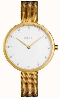 Obaku | kobiet notat gold | złota bransoletka z siatki | biała tarcza | V223LXGIMG