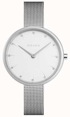 Obaku | notatnik damski | srebrna bransoletka z siatki | biała tarcza | V233LXCIMC