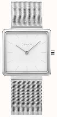 Obaku | stal kvadrat dla kobiet | srebrna bransoletka z siatki | biała tarcza V236LXCIMC