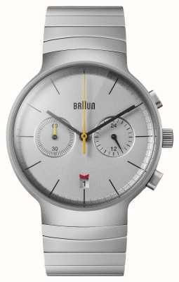 Braun Męski chronograf | srebrna tarcza | bransoleta ze stali nierdzewnej BN0265SLBTG