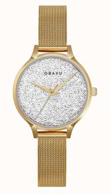 Obaku | kobiet jerner złota | złota bransoletka z siatki | kryształowa tarcza V238LXGWMG