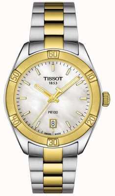 Tissot | damska pr100 sport elegancki | dwukolorowa bransoletka | T1019102211100