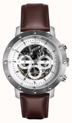 Weird Ape Icarus 3-dial | biała tarcza | brązowy skórzany pasek WA02-005741