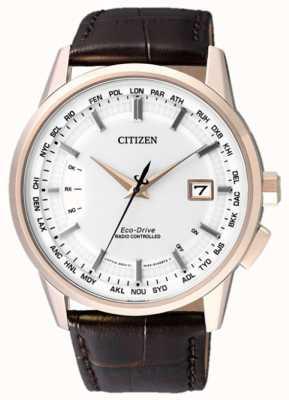 Citizen Sterowane radiowo na wieczyste | brązowy pasek | biała tarcza CB0153-21A