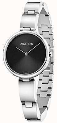 Calvin Klein | damska bransoleta ze stali nierdzewnej | czarna tarcza | K9U23141