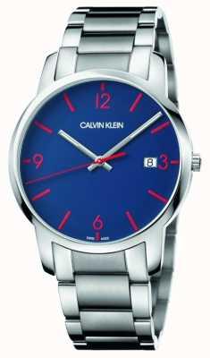 Calvin Klein Miasto mężczyzn | bransoleta ze stali nierdzewnej | niebieska tarcza K2G2G147