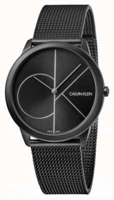 Calvin Klein | minimalna | czarna stalowa bransoletka z siatki | czarna tarcza K3M5145X